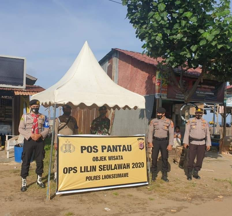 Objek Wisata Pantai Ujong Blang Tak Luput Dari  Patroli Prokes Polsek Banda Sakti